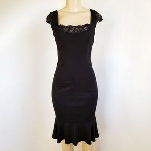 Black David Meister Midi Mermaid Dress